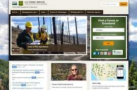 A portion of the home page of the U.S. Forest Service.