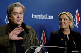 FILE - Marine Le Pen, National Front (FN) political party leader, and former White House Chief Strategist Steve Bannon attend a news conference during the party's convention in Lille, France, March 10, 2018.