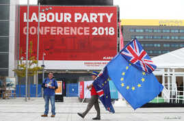 Pro-EU supporters demonstrate on the streets outside the conference venue before the start of the Labour Party Conference in Liverpool, Sept. 22, 2018.