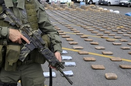 FILE - A Colombian police officer stands guard near packs of marijuana seized in Cali, March 30, 2015. Colombian narcotics police seized 4.1 tons of marijuana from drug trafficking gangs in two houses in Corinto, Cauca, according to authorities.