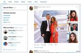 A screenshot of Keziah Daum's Twitter page, showing Daum in her prom press.