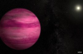 Glowing a dark magenta, the newly discovered exoplanet GJ 504b -- illustrated here with an artist's depiction -- weighs in with about four times Jupiter's mass, making it the lowest-mass planet ever directly imaged around a star like the sun. Image C