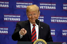 President Donald Trump speaks at a spending bill signing ceremony at VA Southern Nevada Healthcare System, Sept. 21, 2018, in Las Vegas.