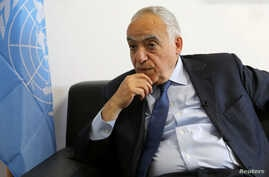 U.N. Special Representative Ghassan Salame speaks during an interview with Reuters in Tripoli, Libya, March 28, 2018.