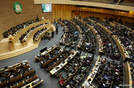 A general view shows Chad's President Idriss Deby addressing delegates during the 26th Ordinary Session of the Assembly of the African Union (AU) at the AU headquarters in Ethiopia's capital Addis Ababa, Jan. 31, 2016.