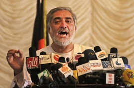 Afghan presidential candidate Abdullah Abdullah speaks during a news conference in Kabul, Afghanistan, May 11, 2014.