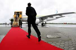Man runs over red carpet to new Airbus A318 (File photo)