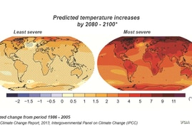 Climate change report - change in average surface temperature