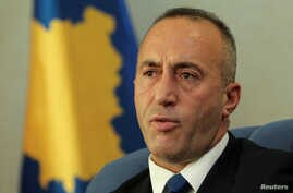 Kosovo's Prime Minister Ramush Haradinaj talks during an interview withe Reuters in Pristina, Kosovo, Oct. 16, 2017.