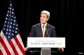 U.S. Secretary of State John Kerry discusses details of the historic nuclear deal reached by Iran and six major world powers, capping more than a decade of on-off negotiations, in Vienna, Austria, July 14, 2015.