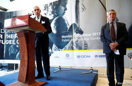 William Lacy Swing, IOM director-general (IOM), addresses a news conference next to Filippo Grandi, High Commissioner for Refugees, after the morning session of the Pledging Conference for Rohingya Refugee Crisis in Bangladesh at the UN in Geneva, Oc
