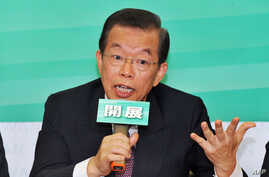Former premier Frank Hsieh of the opposition Democratic Progressive Party speaks during  a press conference in Taipei on October 1, 2012.