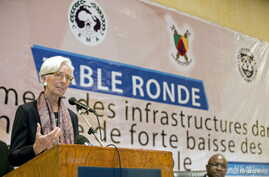 International Monetary Fund (IMF) Managing Director Christine Lagarde speaks during a roundtable with CEMAC Ministers of Finance at the Hilton Hotel in Yaounde, Cameroon, Jan. 8, 2016.