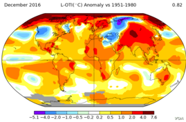 NASA Map showing 2016 temperatures around the globe