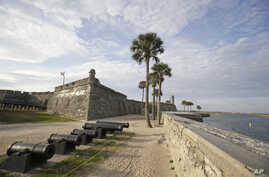 FILE - In this Feb. 3, 2015, photo, the Castillio de San Marcos fort, built over 450 years ago, is separated from the Matanzas River by a sea wall in St. Augustine, Fla.