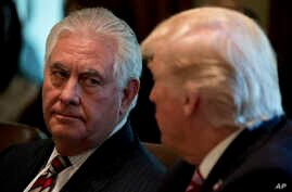 Secretary of State Rex Tillerson listens as President Donald Trump speaks during a Cabinet meeting, in the Cabinet Room of the White House in Washington, June 12, 2017.