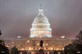 The U.S. Capitol Building in Washington is shrouded in fog early on Election Day, Nov. 6, 2018.