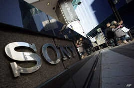 The logo of Sony is displayed outside the Sony building at Ginza shopping district in Tokyo, Thursday, Dec. 18, 2014.