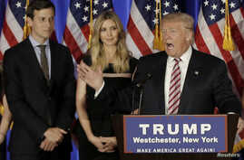 FILE - Donald Trump speaks as his son-in-law Jared Kushner and his daughter Ivanka listen at a campaign event at the Trump National Golf Club Westchester in Briarcliff Manor, New York, June 7, 2016.