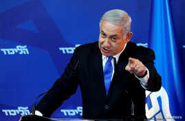 FILE - Israel's Prime Minister Benjamin Netanyahu gestures as he speaks during a news conference in Jerusalem, April 1, 2019.
