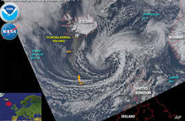 Volcanic cloud extending over Europe, 19 Apr 2010