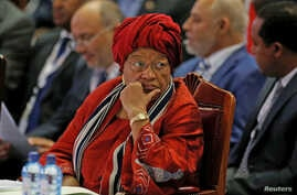 FILE - Liberia's President Ellen Johnson-Sirleaf attends the Sixth Tokyo International Conference on African Development (TICAD VI) in Kenya's capital Nairobi, Aug. 27, 2016.