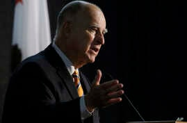 FILE - California Gov. Jerry Brown speaks at a forum in Sacramento, Calif., June 29, 2018.