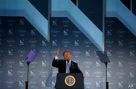 President Donald Trump speaks at the National Federation of Independent Businesses 75th anniversary celebration in Washington, June 19, 2018.