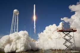 The Orbital Sciences Corporation Antares rocket is seen as it launches from Pad-0A of the Mid-Atlantic Regional Spaceport (MARS) at the NASA Wallops Flight Facility in Virginia, April 21, 2013.