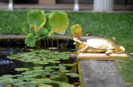 A bronze turtle by Augustus Saint-Gaudens is just one of the sculptures in the garden of his historic home.