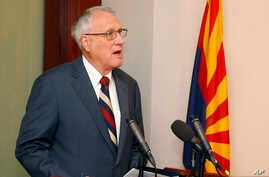 Former Sen. Jon Kyl, R-Ariz., talks about his appointment by Gov. Doug Ducey, R-Ariz., to fill Sen. John McCain's seat in the U.S. Senate at a news conference at the Arizona Capitol, Sept. 4, 2018.