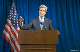 U.S. Secretary of State John Kerry delivers remarks during a news conference at the U.S. Embassy in London, Dec. 16, 2014.