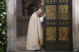 Pope Francis closes the Holy Door of St. Peter's Basilica at the Vatican,  Nov. 20, 2016.