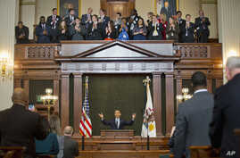 President Barack Obama receives a standing ovation before addressing the Illinois General Assembly at the State Capitol in Springfield, Feb. 10, 2016.