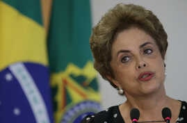 Brazil's President Dilma Rousseff speaks during a meeting at the Planalto Presidential Palace, in Brasilia, Brazil, Wednesday, April 13, 2016.