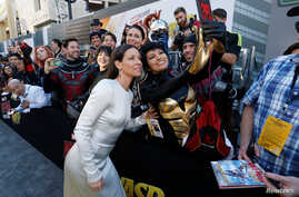 "Cast member Evangeline Lilly, who plays the Wasp, attends the premiere of the movie ""Ant-Man and the Wasp"" in Los Angeles, June 25, 2018."