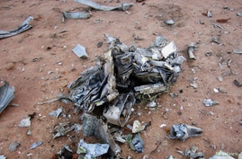 Debris is seen at the crash site of Air Algerie flight AH5017 near the northern Mali town of Gossi, July 24, 2014. Poor weather was the most likely cause of the crash of an Air Algerie flight in the West African state of Mali that killed all 118 peop
