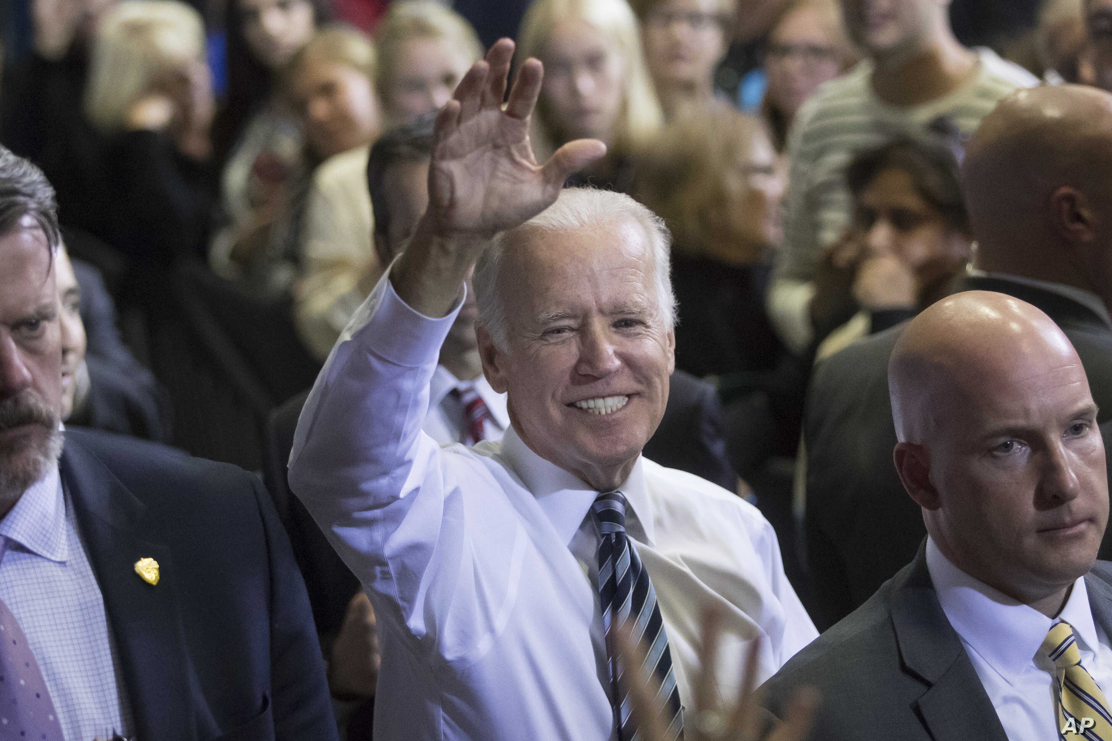 Vice President Joe Biden campaigns for Democratic presidential candidate Hillary Clinton at the Sinclair Community College Automotive Technology Building, Monday, Oct. 24, 2016, in Dayton, Ohio