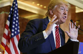 Republican presidential candidate Donald Trump talks about his tax plan during a news conference, Monday, Sept. 28, 2015, in New York.