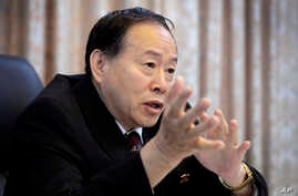 Han Song Ryol, director-general of the department of U.S. affairs at North Korea's Foreign Ministry speaks during an interview with The Associated Press on June 24, 2016, in Pyongyang, North Korea.