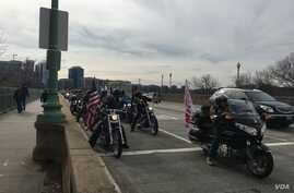 About 200 members of Bikers for Trump participated in an organized ride that began about 30 minutes outside Washington, in Dale City, Virginia, Jan. 19, 2017. (J. Fatzick/VOA)