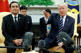 President Donald Trump speaks during a meeting with Thai Prime Minister Prayuth Chan-ocha in the Oval Office of the White House, in Washington, Oct. 2, 2017.