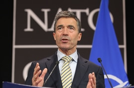 NATO Secretary General Anders Fogh Rasmussen addresses the media during a NATO foreign ministers meeting at NATO headquarters in Brussels, April 23, 2013.