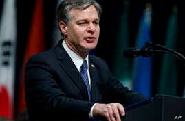 FBI Director Christopher Wray speaks during the FBI National Academy graduation ceremony, Dec. 15, 2017, in Quantico, Virginia.