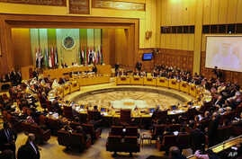 FILE -- Arab foreign ministers attend an emergency Arab League session in Cairo, Egypt, Jan. 20, 2106. The Arab League has formally branded Lebanon's militant Hezbollah group a terrorist organization.