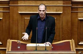 Greek Finance Minister Yanis Varoufakis speaks during a Parliament session in Athens, Feb. 9, 2015.