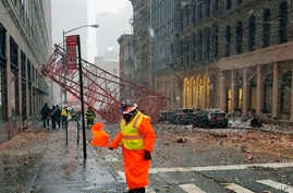 A crane collapsed on the street in the Tribeca neighborhood of New York's Lower Manhattan, 5, 2016.