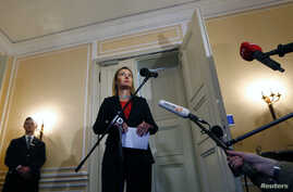 The European Union's foreign policy chief Federica Mogherini addresses to media after the meeting of the Quartet of Middle East peace mediators during the 51st Munich Security Conference at the 'Bayerischer Hof' hotel in Munich February 8, 2015. The