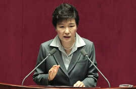 FILE - South Korean President Park Geun-hye speaks to the National Assembly in Seoul, Oct. 29, 2014.