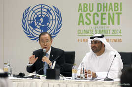 U.N. Secretary General Ban Ki-moon (L) and United Arab Emirates (UAE) Minister of State Sultan Ahmed Al Jaber attend a news conference on climate change in Abu Dhabi, May 4, 2014.